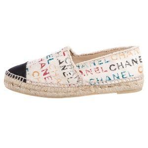 SOLD Chanel Cream Logo Cap Toe Canvas Espadrilles